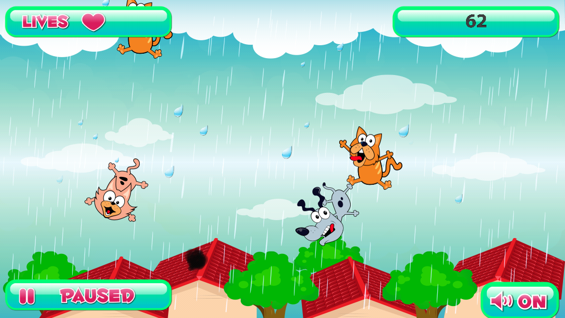 Raining Cats and Dogs Game Screen